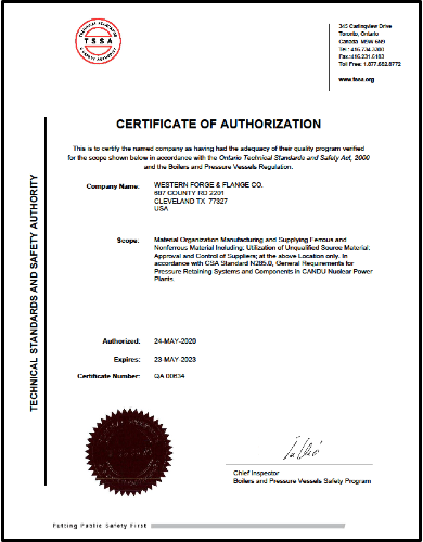 Certificate of Authorization Non-Nuclear